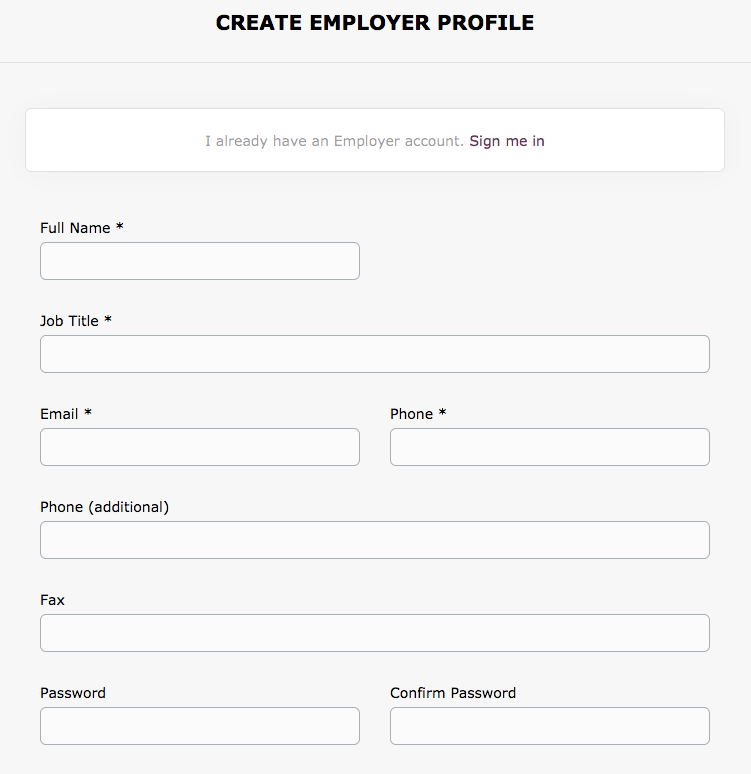 Screenshot of Employer Profile Page